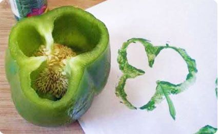 "For next year // Grab a Bell Pepper and create a work of ""LUCKY"" art - great idea for kids, stamp with fabric paint & make your own St. Patty Day T-shirt"