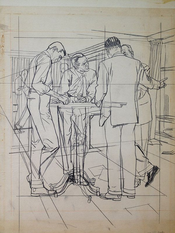 Austin Briggs - Prelim MEN STANDING AROUND TABLE (w/ Perspective Lines).