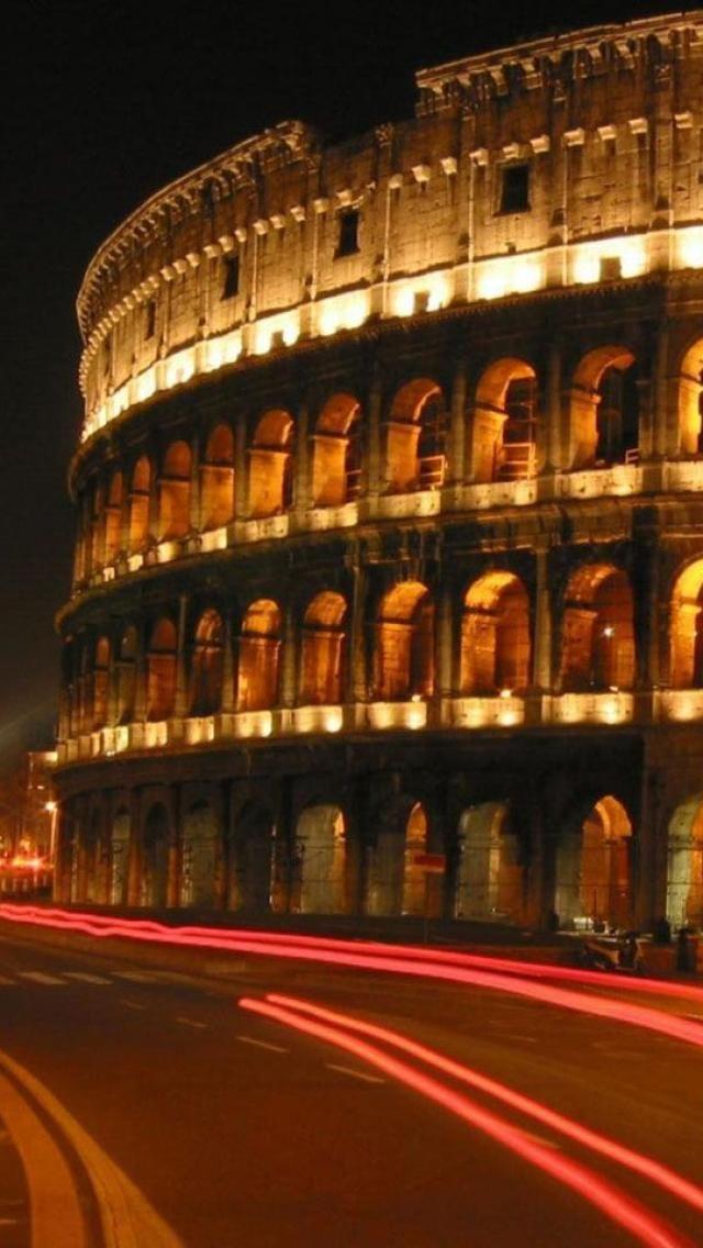 New world wonder - the Colosseum, night, Rome, Italy
