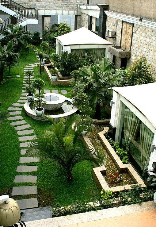 Vista superior de dise o de jard n bellos jardines de for Ornamentacion de jardines