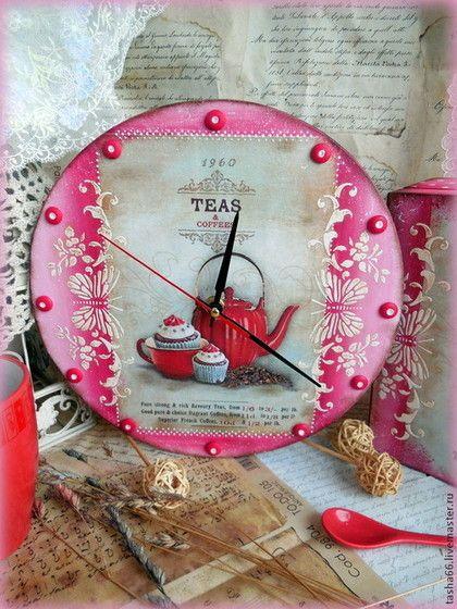 """Завтрак с тобою"". Часы для кухни - коралловый,часы настенные,часы для кухни"