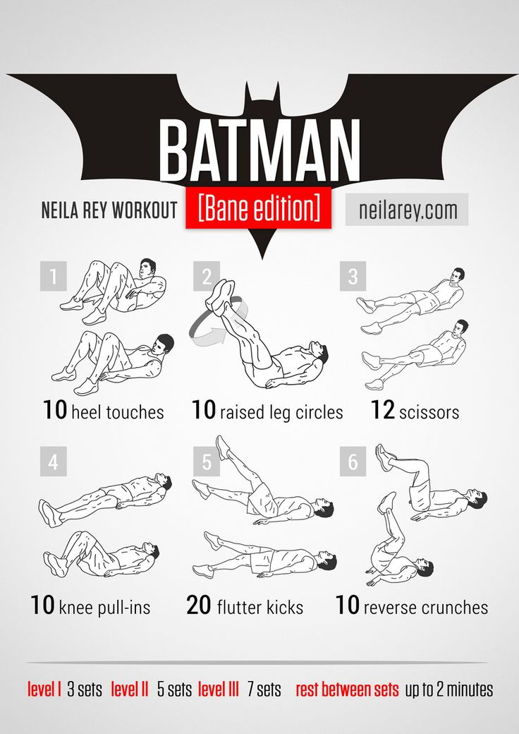 Batman Workout (Bane Edition) What it works: lower abs, quads, upper abs, lateral abs, cardiovascular system.