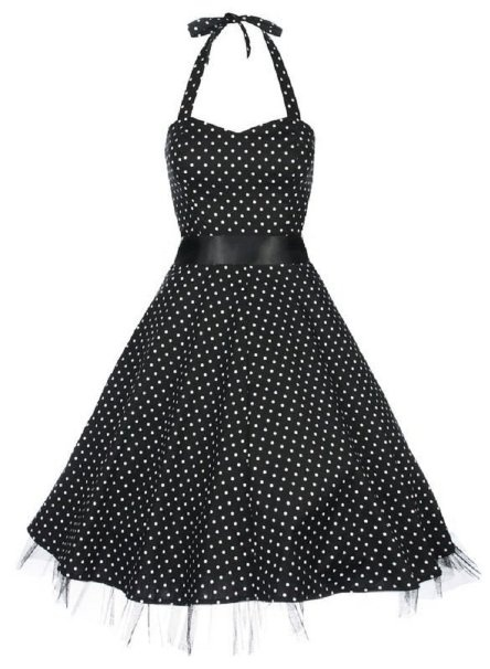 Amazon.com: Lindy Bop 'Bonnie' Black Polka Dot Vintage 1950'S Rockabilly Pinup Halter Party Swing Dress: Clothing