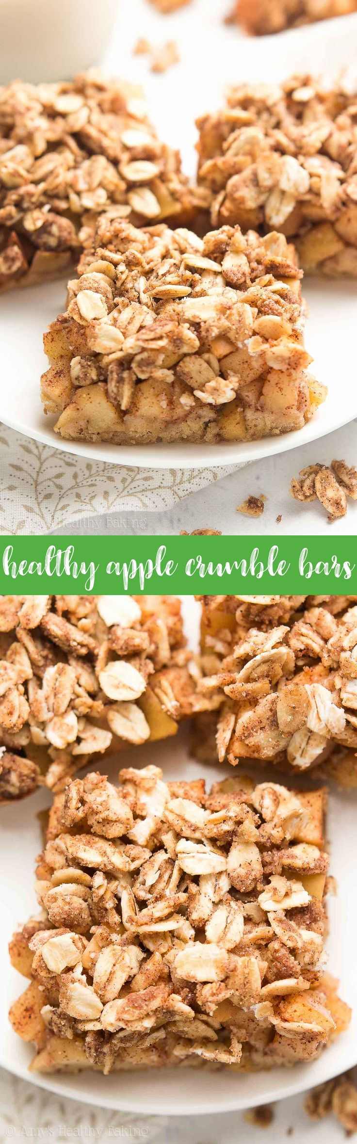 {HEALTHY!} Small Batch Apple Crumble Bars -- 67 calories! SO GOOD & easy to make! Sugar cookie crust + spiced apple filling + cozy oat streusel = pure BLISS! #recipe