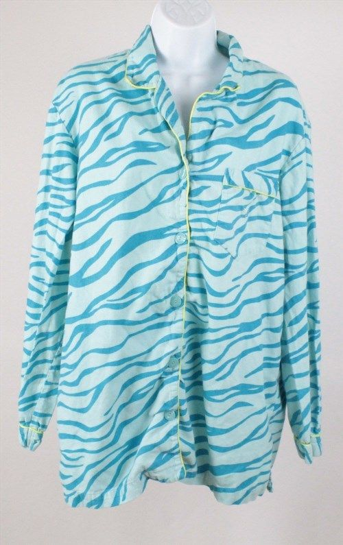 12.86$  Watch now - http://vinve.justgood.pw/vig/item.php?t=i1dj5n23836 - Victoria's Secret Women's 100% Cotton Blue Zebra Print Sleep Shirt Size L Large