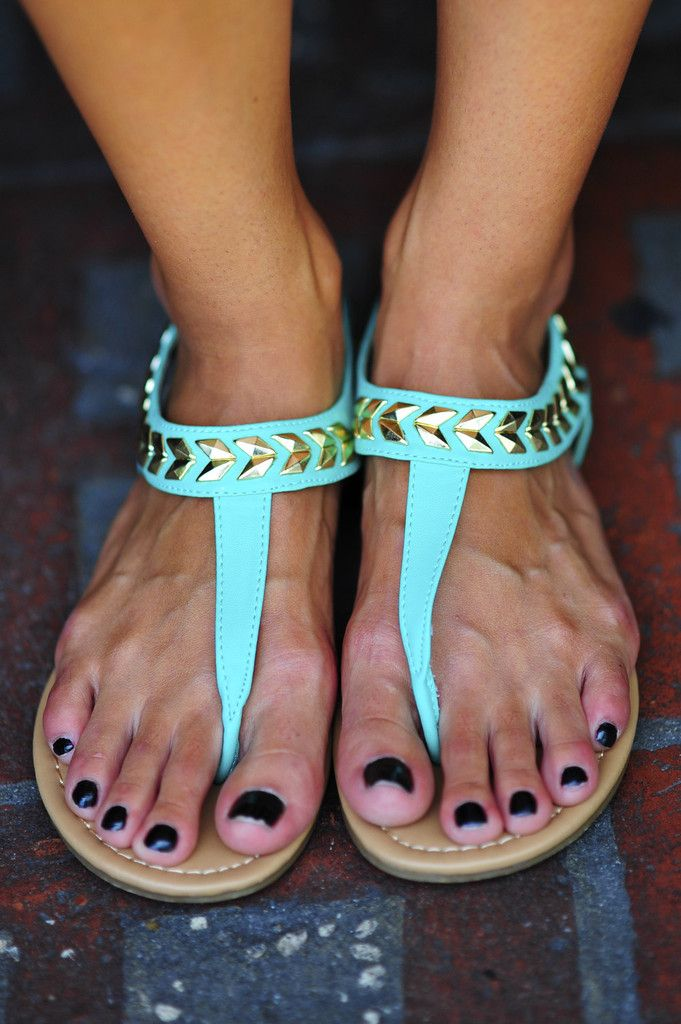 Follow The Arrows Sandals: Aqua