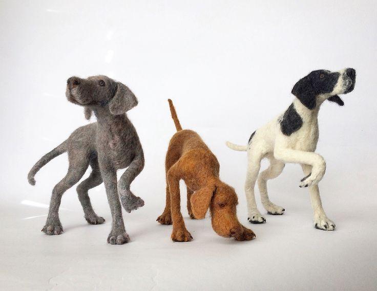 Needle felted hounds.