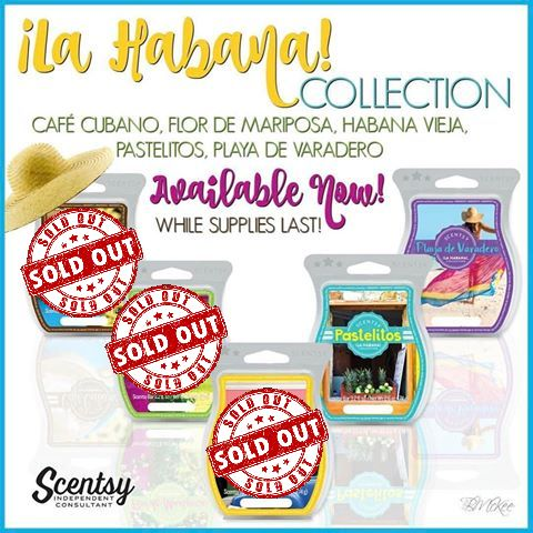 Scentsy's La Habana Bars are going fast! Flor de Mariposa, Habana Vieja, Cafe' Cubano are SOLD OUT!But don't worry These two are still available, but get them quick before they're gone!Pastelitos - Stop for a treat on the way to somewhere magical with luscious pineapple, lime and a splash of dark rum.Playa de Varadero - Find a new perspective where the sand meets the sea, on a sweet tide of sugarcane, bergamot zest and fresh Havana lily.https://cuanam50.scentsy.us