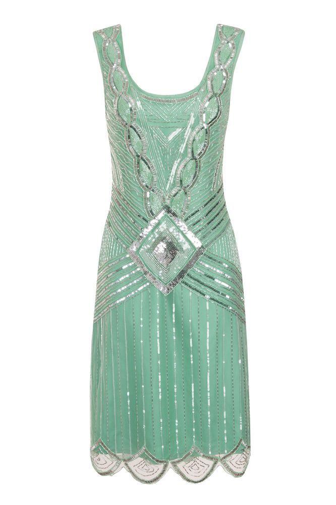 MINT SEQUIN CHARLESTON FLAPPER uk 8 10 12 14 16 GATSBY dress 20's ART DECO