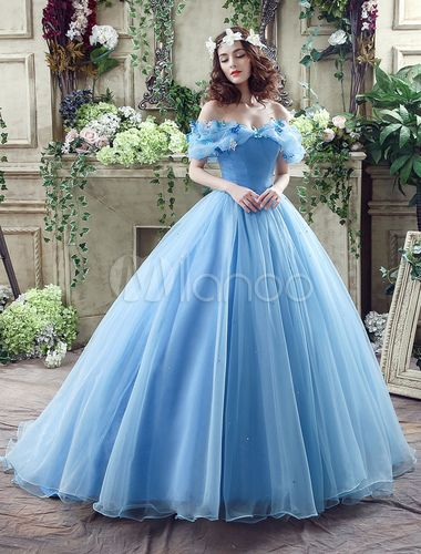 Cinderella Dress Blue Organza Tulle Off the Shoulder Ball Gown Dress with Chapel Train-No.4
