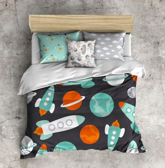 My 1st big boy bed set astronaut bed set space bedding toddler bedding kids bed set little - Toddler beds for boys ...