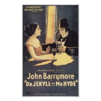 "Poster of the 1920 ""Dr. Jekyll and Mr. Hyde"" movie starring John Barrymore. #poster #movie #vintage #classic #barrymore #jekyll #hyde cerebralartery"