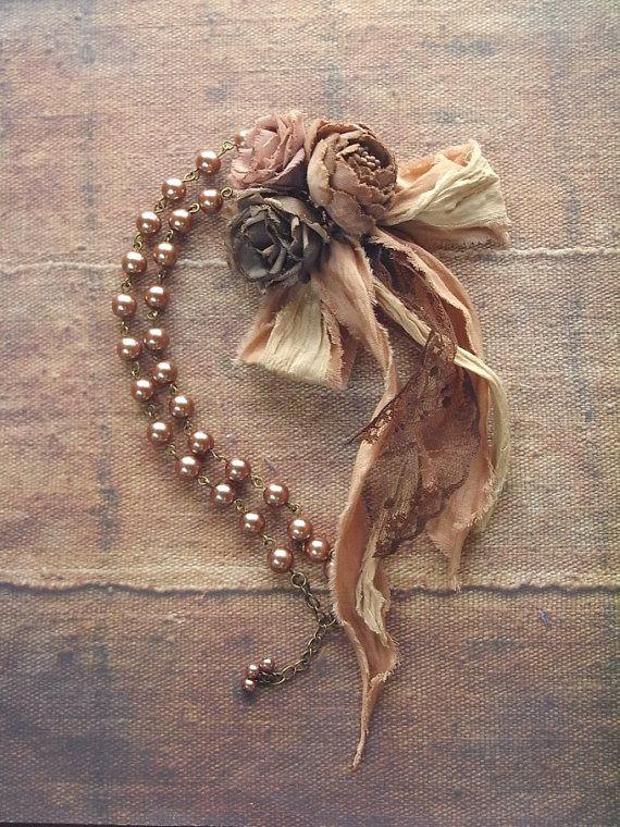 petite bouquet pearl necklace mocha rose hand dyed by kikosattic, $62.00