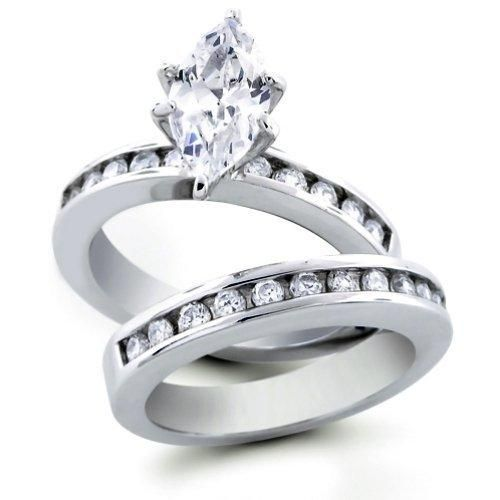 Bling Jewelry Sterling Silver Marquis Cut CZ Engagement and Wedding Ring Set