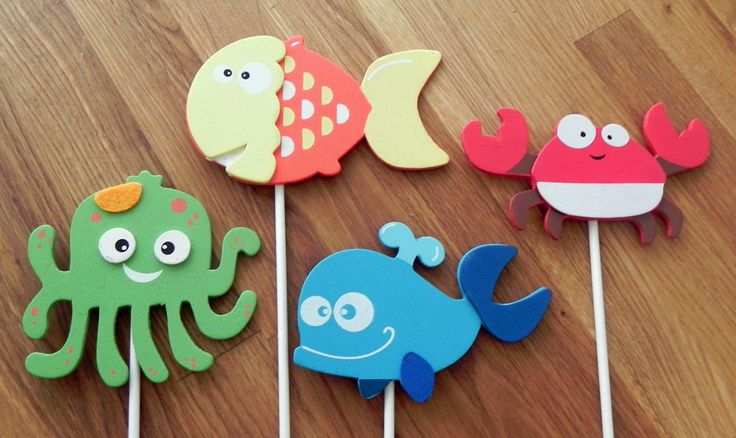 Ocean Shape Cake Toppers or Party Decorations fish by BabyBinkz, $8.00