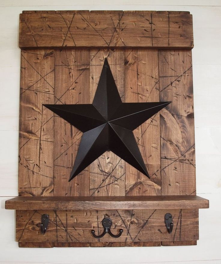 Rustic Country Brown Wood Shelf W Hooks Black Barn Star Distressed Handmade In Home