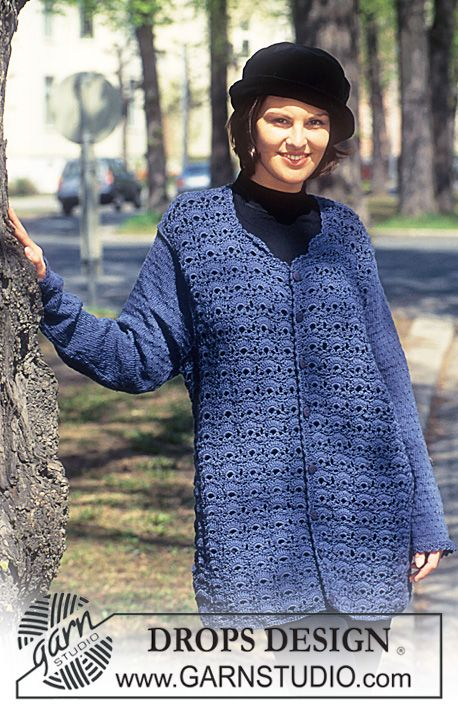 Crocheted jacket. ~ DROPS Design ~FYI: The body is crocheted; the arms are knitted.