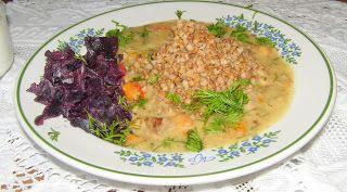 """W Mojej Kuchni Lubię.. : gulasz z szynki """"po węgiersku"""" z kaszą gryczaną......"""