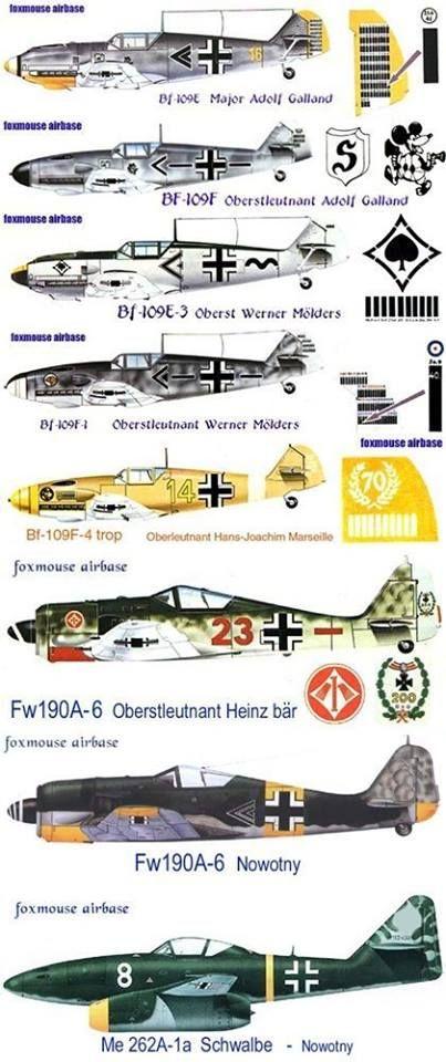 Messerschmitt Bf 109 of Adolf Galland(104 victories), Werner Mölders(115 victories), Hans-Joachim Marseille(158 victories), Focke Wulf 190 of Heinz Bär (221 victories) and Walter Nowotny+Messerschmitt Me 262(258 victories)