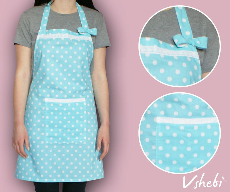 White polka dots on turquoise fabric. This apron has a very handy pocket on the front. It's decorated with cute bow and lace ribbon. All aprons are one size but I'm open to customize it. Length: 71 cm Width: 74 cm Tie: 90 cm 100% Cotton