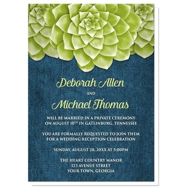 I Wanted To Share With You These Succulent Green Blue Denim Reception Only Invitations Do