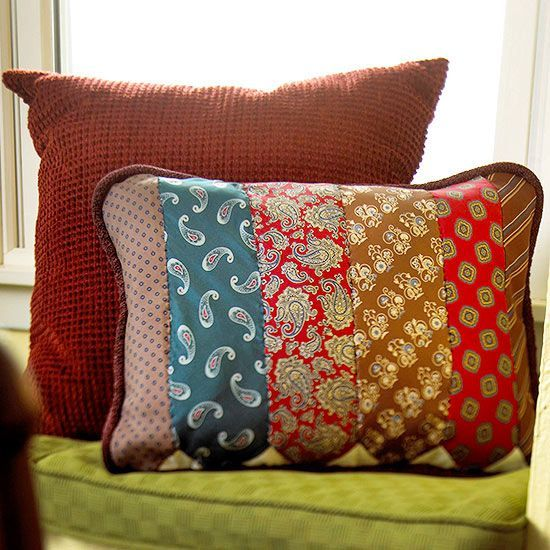 How creative! Use Dad's old neckties to make this one-of-a-kind pillow for Father's Day. More simple handmade gifts for Father's Day: http://www.bhg.com/holidays/fathers-day/gifts/fathers-day-gifts/?socsrc=bhgpin060313pillow=3