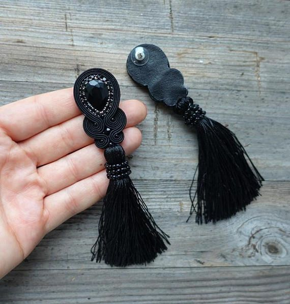 Black earrings with tassels soutache earrings black and red