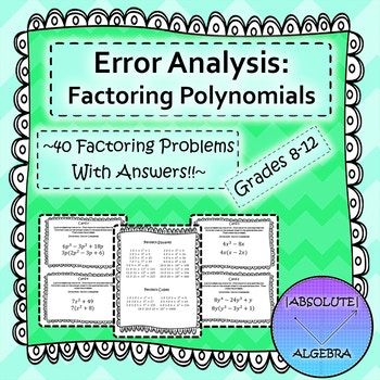 Includes: Notes with examples! Sheet including perfect squares and cubes 40 factoring problems (5 GCF only, 5 difference of two squares, 5 trinomials when a = 1, 5 trinomials when a ≠ 1, 2 factoring by grouping, 3 prime, 5 perfect square trinomials, 5 combo problems, and 5 sum and difference of cubes) An error