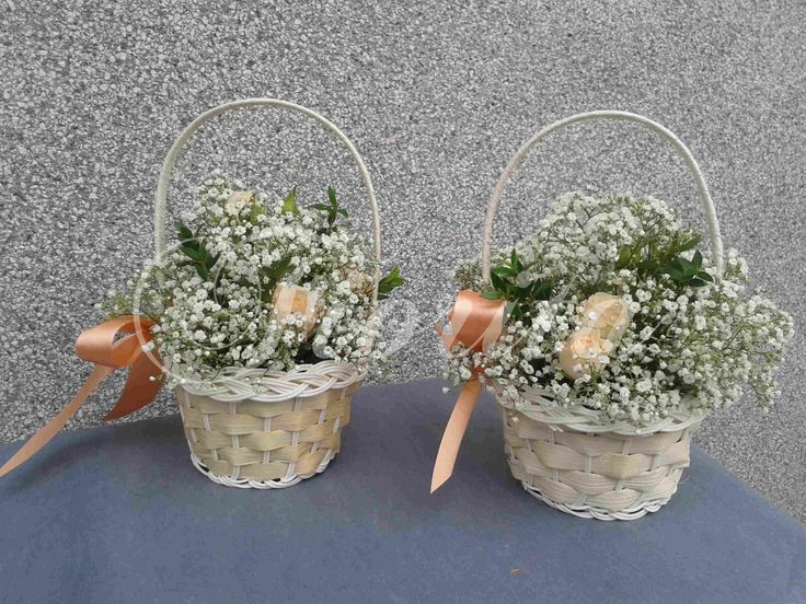 Košíčky pro družičky: růže a nevěstin závoj