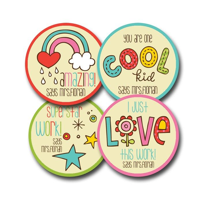 Cute and colourful personalised merit stickers for teachers bag of 40