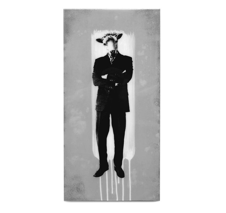 BISCO SMITH - SUITS - 12 x 24 - mixed media on wood w/ resin finish - 2013