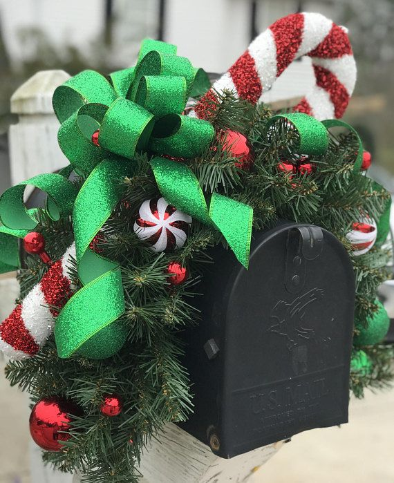 Christmas Mailbox Topper, Outdoor Christmas Decoration, Candy Cane Swag, Christmas Mailbox Cover, Whimsical Mailbox Swag, Christmas Decor