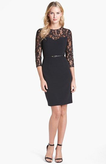 Why are all the cool dresses in black? Christian picked the dress I was  going to get.lol Adrianna Papell Lace Yoke Crepe Sheath Dress (Regular &  Petite) ...