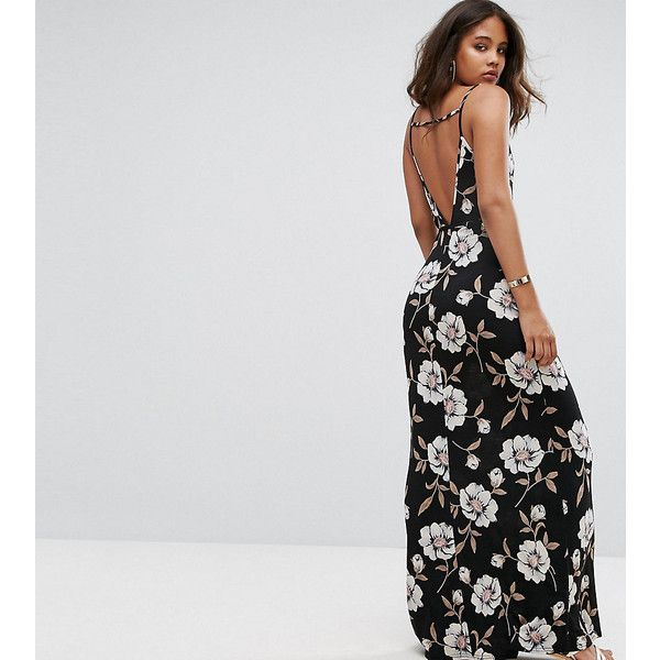 ASOS TALL V Back Maxi Dress In Dark Floral ($49) ❤ liked on Polyvore featuring dresses, black, floral-print maxi dresses, flower print maxi dress, tie waist dress, tall maxi dresses and flower printed dress