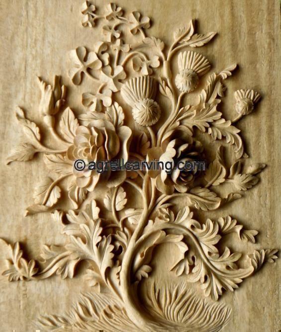 Panels Rose Thistle Shamrock Agrell Woodcarving