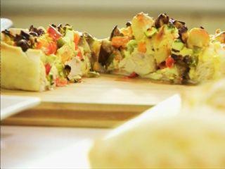 Tarta de verduras grilladas con pollo