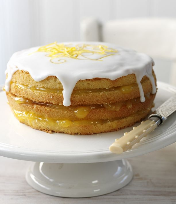 Try Delia Smith's delicious lemon cake recipe filled with homemade lemon curd