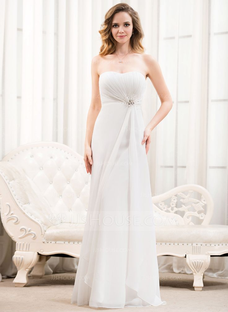 A Line Princess Sweetheart Floor Length Chiffon Wedding Dress With Ruffle Beading Sequins 002054622