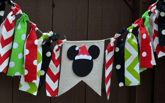 Mickey Mouse Banner Bunting Santa Hat by PrettyBoutiqueParty