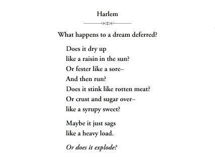 langston hughes a dream deferred essay Langston hughes - poet - a poet as in his book-length poem montage of a dream deferred a collection of critical essays (prentice hall, 1973) that hughes.