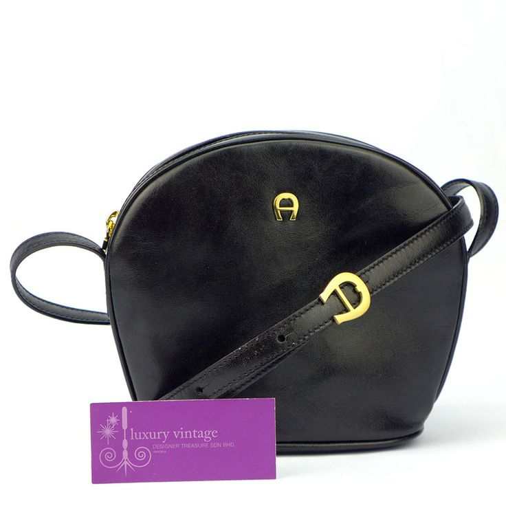 Aigner Sling Bag Black Colour Leather With Gold Hardware Fair Condition Ref.code-(GTRO-1) More Information Or Price Pls Email  (- luxuryvintagekl@ gmail.com)