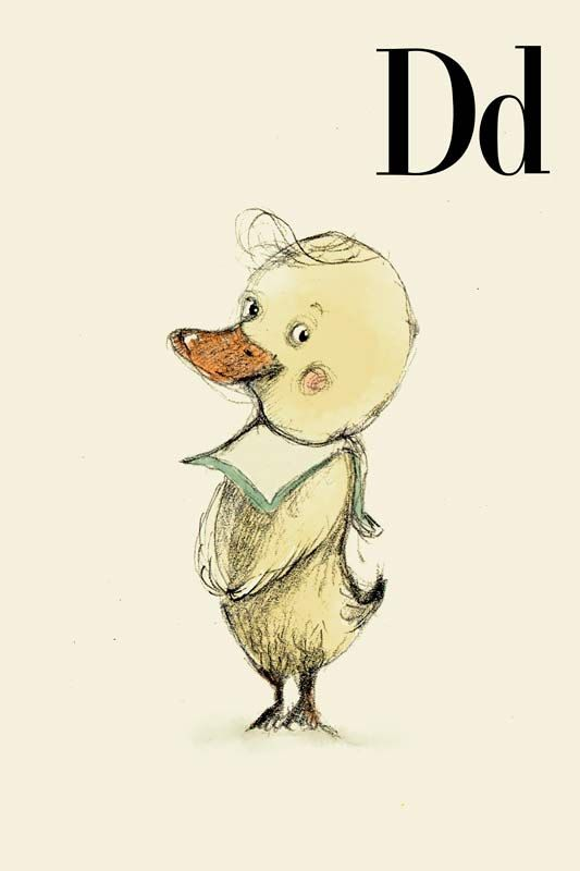 Paola Zakimi - D for Duck Alphabet animal,  Print 8x11 inches