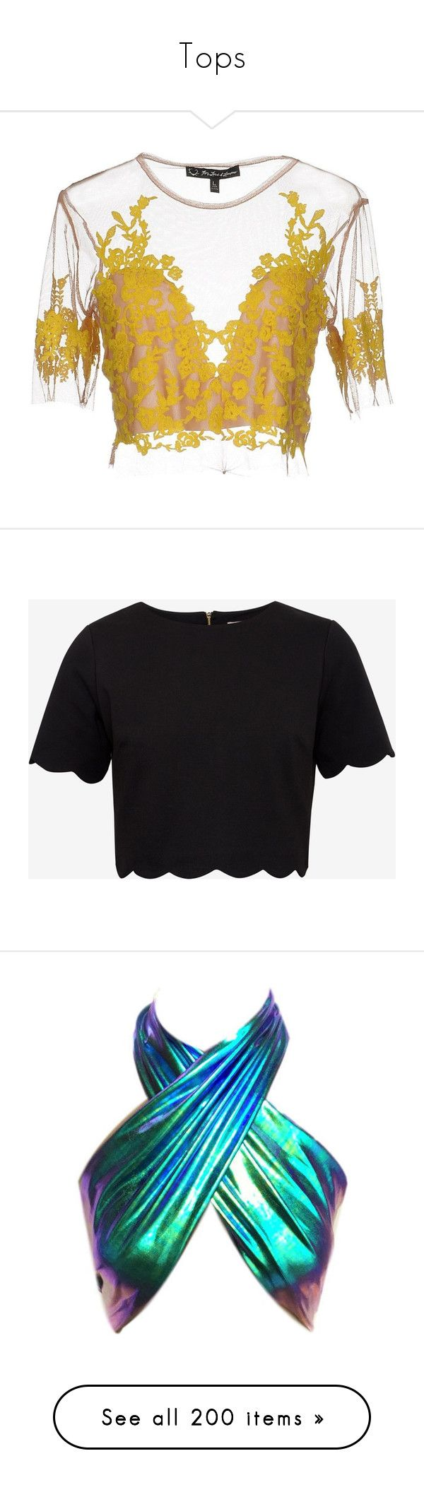 """""""Tops"""" by altrisa-mulla ❤ liked on Polyvore featuring tops, blouses, shirts, crop top, yellow, embroidery shirts, short-sleeve blouse, crop blouse, short sleeve shirts and black"""