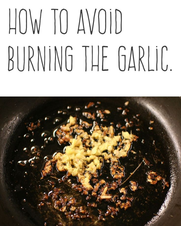 How to avoid burning the garlic.   When you're going to saute garlic, slice it rather than mincing it. When you are frying onion and garlic, remember to add garlic at the end of the frying onion.   More cooking tips and hacks https://happyforks.com/hack/288