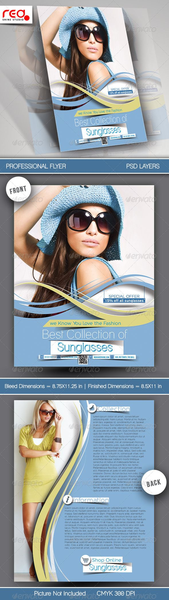 SunGlasses Fashion Store Flyer Template. — Photoshop PSD #sale #eye • Available here → https://graphicriver.net/item/sunglasses-fashion-store-flyer-template/7817917?ref=pxcr