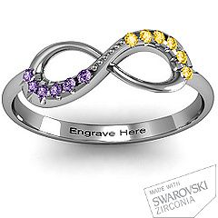 The birthstones of you and your significant other- names engraved on the inside. Love this so much