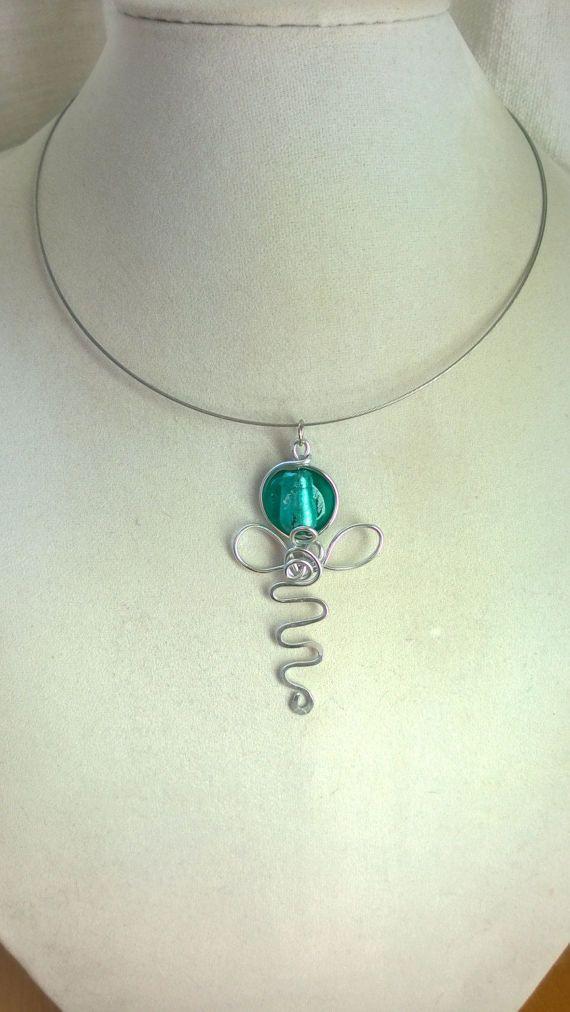 Design necklace turquoise blue necklace aqua necklace Angel