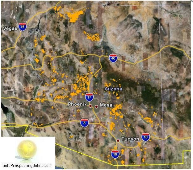 This is a great simple map of gold locations in Arizona. I would concentrate in Yavapai county if you are interested in finding color.