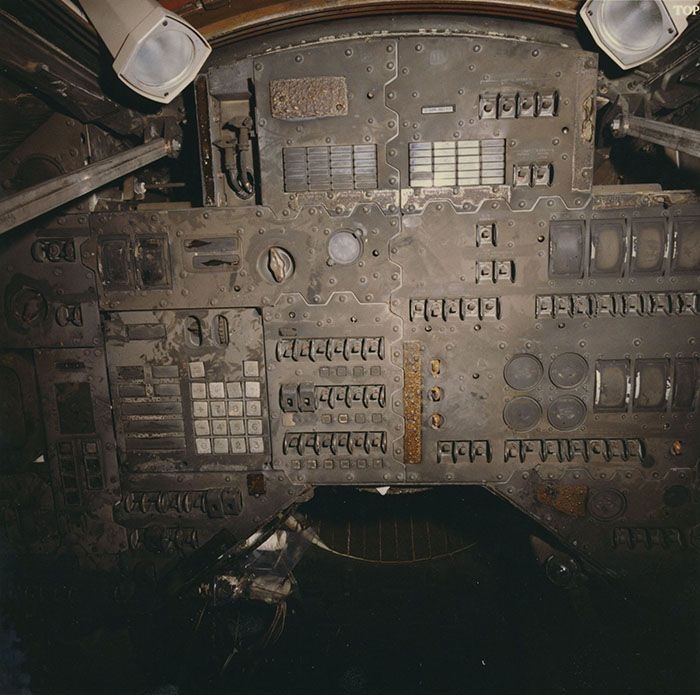 "Astronomy - Astronauts: Rare photo of Apollo 1 Command Module Instrument Panel after fire. A cabin fire during a launch rehearsal test on January 27, 1967 at Cape Kennedy Air Force Station Launch Complex 34 killed all three crew members—Command Pilot Virgil I. ""Gus"" Grissom, Senior Pilot Edward H. White II, and Pilot Roger B. Chaffee—and destroyed the Command Module (CM)."