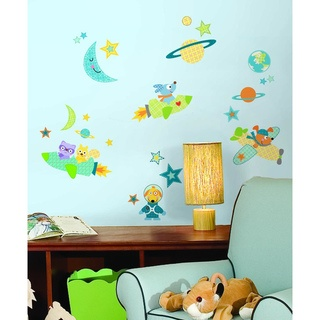 @Overstock - These adorable  Rocket Dog wall decals are an easy way to decorate an outer space-themed nursery or child's bedroom in just seconds. The set includes cute patterned dots, stars, planets, and various dogs and animal friends in spaceships.http://www.overstock.com/Baby/Rocket-Dog-Peel-Stick-Wall-Decal/7538516/product.html?CID=214117 $13.99